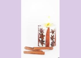 Свеча-эко ручной работы SPICY DREAMS с корицей и звездочками аниса, d6-7 h7-8 см, круглая TM Aromatte