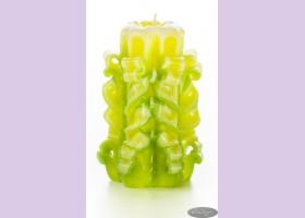 Свеча-резная ручной работы LACE LIME-S (кружева лайм), h 9 см TM Aromatte