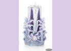 Свеча-резная ручной работы LACE VIOLET-M (кружева фиалки), h 11 см TM Aromatte