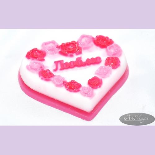 Мыло ручной работы пирожное/сердце ЛЮБЛЮ, 90 гр