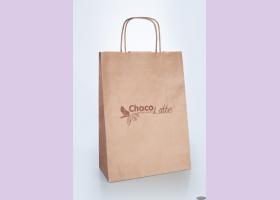 Пакет бумажный с кручеными ручками из крафт-бумаги ТМ Chocolatte